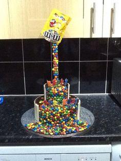 M&M birthday cake.
