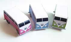 Printable Retro Camper Van Place Cards - Wedding Party New Baby Favour Boxes PDF