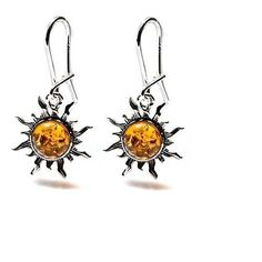 Brown ORIGINAL Top Quality Amber Sterling Silver Romantic Sun Small Earrings #IanandValeriCo #DropDangle