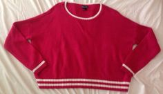 Women's WET SEAL Hot Pink Over-sized Crop Race Stripe Sweater Top - Size Small S #WetSeal #CropOversized