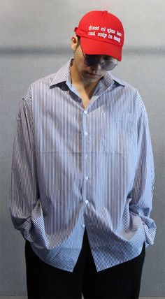 심플 오버사이즈 스트라이프 셔츠, 쇼미더머니6 페노메코착용 제품입니다. Model 175cm / 70kg / onesize