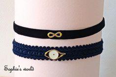 χειροποίητα τσόκερ κολιέ, βελούδινο μαύρο με επίχρυσο άπειρο και έθνικ μπλε με λευκό επίχρυσο ματάκι choker necklace black velvet, ethnic blue