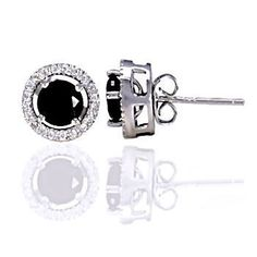 Laura: 6mm Black Ice Diamond CZ Studs with CZ Halo Earring Jacket - Trustmark Jewelers