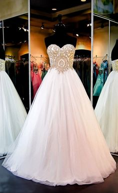 Gorgeous White Strapless Sweetheart Ball Gown Sparkly Tulle Wedding Dress With Gold Sequins,Princess Bridal Prom Dresses For Sale, Long Wedding Dresses, Bridal Dresses, Tulle Wedding, Wedding Bride, Wedding Gowns, Custom Wedding Dress, Applique Wedding Dress, Lace Applique