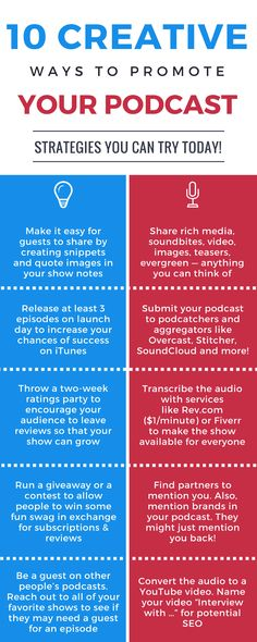 10 Creative Ways to Promote a Podcast. Strategies you can try today!   #podcast #socialmedia #marketing