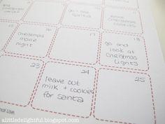 a little delightful: advent calendar cards + christmas activity planner printables
