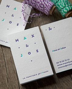 Cartes de visite papeterie impression recto verso avec contrecollage / business cards printed in 2 colors