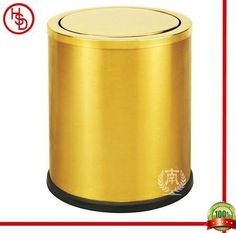 HOUSED-豪仕达,酒店用品/hotel articles# GPX-205 dustbin#翻盖:0.7mm201#砂金;桶身:0.5mm201#砂金;桶底:橡胶圈;圆形单层桶/swinging cover &  body: 201# stainless steel with titanium gold plated(matt finished); bottom: rubbber ring;round shape, 1-layer#size:24.5*29.5CM