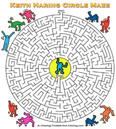 The Keith Haring Circle Maze, a print and play arts game by Artsology Art Games For Kids, Games For Kids Classroom, Building Games For Kids, Mazes For Kids, Online Games For Kids, Art Classroom, Art Sub Plans, Art Lesson Plans, History Of Modern Art