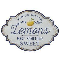 """When Life Gives You Lemons Make Something Sweet"" Metal Wall Décor Kitchen Decoration lemon kitchen decor Country Kitchen, New Kitchen, Kitchen Ideas, Southern Kitchen Decor, Awesome Kitchen, Kitchen Designs, Kitchen Inspiration, Country Decor, Minimal Kitchen"