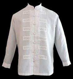 White Barong Tagalog - Barongs R us Barong Wedding, Wedding Men, Dream Wedding, Wedding Ideas, Barong Tagalog, Filipiniana Dress, Philippines Fashion, Chinese Collar, African Shirts