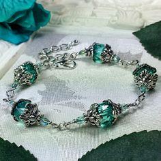 Aqua Green Silver Lantern Victorian Bracelet