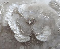 Luneville -  White sequins, crystals &  seed beads embroidery embellishment details.
