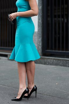 Sartorialist: On the Street….Via Alesario, Milan - love the color, hip darts, unusual godet shape