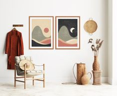 Modern Minimalist, Mid-century Modern, Portrait Wall, Mid Century Modern Art, Moon Art, Modern Wall Art, Printable Wall Art, Gallery Wall, Art Prints