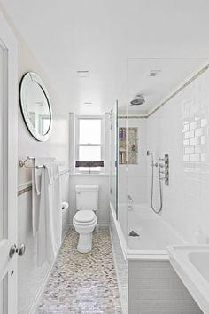 Apartment therapy small bathroom with tub, long narrow bathroom, new ba Bathroom Tub, Trendy Bathroom, Narrow Bathroom, Small Narrow Bathroom, Tub Shower Combo, Modern Farmhouse Bathroom, Bathroom Shower, Bathrooms Remodel, Bathroom Design