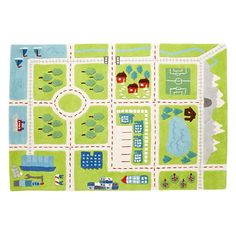 The Land of Nod Kids' Rugs: Kids Town Activity Rug Features Roads, Trees, Buildings And Lakes Land Of Nod Rug, Boy Room, Kids Room, Room Ideias, Map Rug, Playroom Rug, Playroom Ideas, Nursery Ideas, Over The River