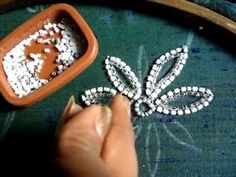hand embroidery bead work chain stitch - YouTube
