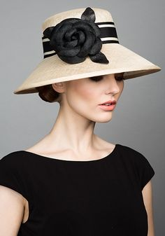 Rachel Trevor Morgan Millinery S/S 2015, R1589 Natural straw Coco hat with black straw camellia