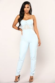 5a108578f8f Walking On Air Jumpsuit - Blue Mesh Jumpsuit