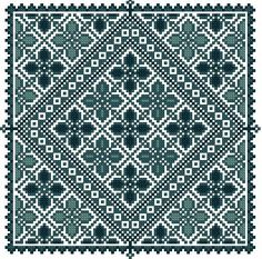 Maya's Garden Motifs: This small design was inspired by the motifs on the chest panel of a dress from the Ramallah region, just north of Jerusalem. The motifs include a narrow hill-and-valley border and a dense pattern of quadrifoil star flowers connected by a band of diamond talismans. On traditional dresses, the V-shaped talisman band separated the neck region from the chest panel. This monochromatic design uses three shades of turquoise on an antique white Aida background. Maya is an…