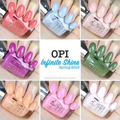 Eight new colours are springing up in the OPI Infinite Shine Spring 2016 Collection! (See swatches and bottle shots of the entire collection on SwatchAndLearn.com.)