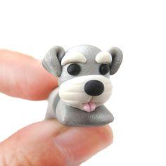 hecho a mano-Cesky-terrier-cachorro-forma de perro-falso de calibre-polímero-arcilla-stud-pendiente