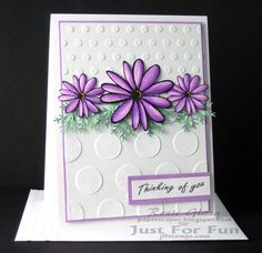 Just For Fun Rubber Stamps images:  Large Loop Petal Daisy - http://www.jffstamps.com/proddetail.asp?prod=D3358, Small Loop Daisy - http://www.jffstamps.com/proddetail.asp?prod=A3350, Sentiments 1 - http://www.jffstamps.com/proddetail.asp?prod=UMS7018&cat=20    molding paste embossing, Chameleon alcohol markers for coloring flowers, botanical, molding paste