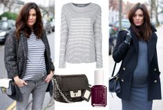 Maternity street style. Stick with grey and blue hues to minimize your bump.