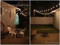 DIY Outdoor Lighting - A DIY for hanging Bistro lights when you don't have a tree or wall to attach them too.