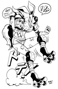 Monstah Goil #16, A roller derby Dullahan! Her body and head work independently and don't quite get along.. but they wouldn't ge...
