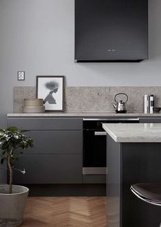 Stylish Modern Kitchen Cabinet 127 Design Ideas: 30 Grey Kitchens That You'll Never Want To Leave Grey Kitchen Cabinets, Home Kitchens, Kitchen Remodel, Kitchen Decor, Kitchen Interior, Interior Design Kitchen, Minimalist Kitchen, Apartment Kitchen, Modern Kitchen Design
