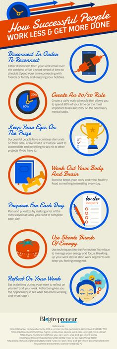 How Successful People Work Less & Get More Done - #infographic
