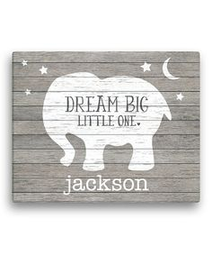 Personalized Planet Gray Elephant \'Dream Big Little One\' Personalized Canvas