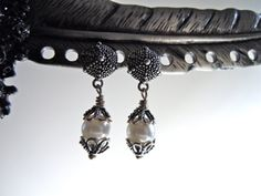Silver Sea Urchins with Pearls Earrings 10 Off by JuJuBeader, $45.00