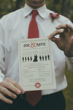 Cool graphic wedding ceremony program {Photo by Liz Chrisman Photography}