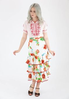 Gorgeous Vintage 70's Peacock Floral Rayon Tiered Ruffle Summer Gypsy Skirt