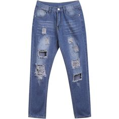 Yoins Ripped Details Boyfriend Jeans with High-waist (£18) ❤ liked on Polyvore featuring jeans, high waisted distressed jeans, torn boyfriend jeans, ripped boyfriend jeans, blue jeans and destroyed boyfriend jeans