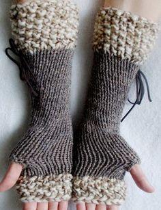 Stricken Fingerlose Handschuhe lange Pulswärmer Taupe von LaimaShop