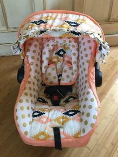 Agave Fields Coral & Gold Custom Infant Car by RitzyBabyOriginal