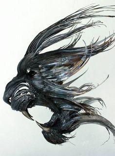 Hammered Steel Animal Head Sculpture by Selçuk Yılmaz #cat #lion #profile #metal #art