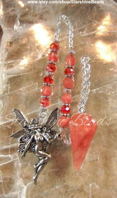 Cherry Quartz Fairy Pendulum  Fairy Pendulum by StarshineBeads