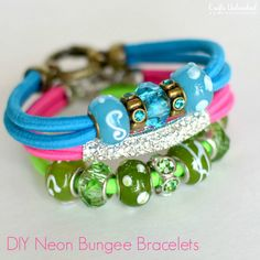 "As the warm weather hits, add some vibrant colors to your accessories with these fun and colorful bungee neon bracelets that scream ""summertime!"""