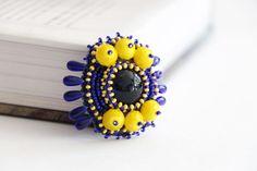 Blue yellow cute brooch accessories  women by RasaVilJewelry