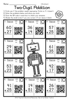 QR codes are all the rage, and they will have your students wanting to do all sorts of math problems! Each title contains 12 self-checking center/task QR code cards, one recording sheet, and one 10-problem worksheet on money, telling time, and 2-digit subtraction and addition.