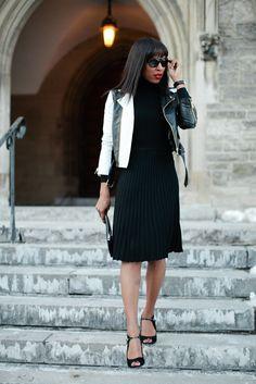 Kick Pleat Skirt by AnnTaylor Moto Jacket by Whitney Eve