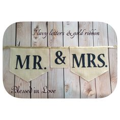 A personal favorite from my Etsy shop https://www.etsy.com/listing/171838002/mr-mrs-burlap-bunting-home-plate-shaped