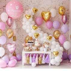 What do you think of this unicorn birthday party🦄✨💖 Cadeau Baby Shower, Idee Baby Shower, Unicorn Baby Shower, Unicorn Birthday Parties, 1st Birthday Girls, Birthday Balloons, Unicorn Party, Bar Deco, Princess Party
