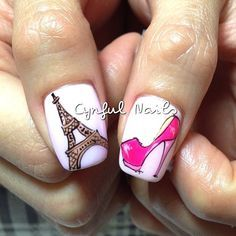 I love this nail art because it describes my chic style and my personality. Get Nails, Love Nails, Pink Nails, Hair And Nails, Nail Art Paris, Paris Nails, Fabulous Nails, Gorgeous Nails, Pretty Nails