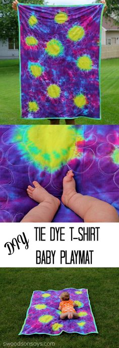 Sunburst Technique – a Tie Dye Baby Mat Tutorial #tiedyeyoursummer @ilovetocreate . A sponsored post showing how to do the sunburst technique and how to make a tie dye baby play mat, from Swoodson Says.